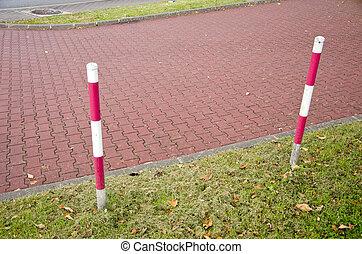 laan, beschermend, palen, tiled, park, barrière