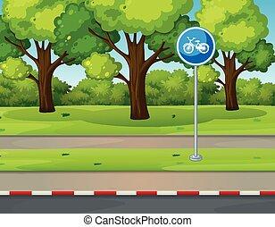 laan, fiets, park, scène, straat