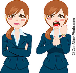 laat, businesswoman, boos, concept