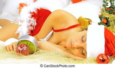 laat, claus, kerstman, vrouwlijk, slapende