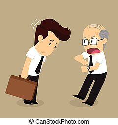 laat, zakenman, aankomen, complain