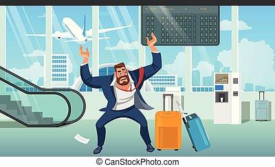 laat, zakenman, vliegtuig, vector, spotprent