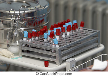 close up of blood tubes in blood bank lab