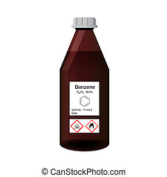Lab bottle with chemical toxic and flammable solvent -...