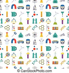 Lab chemical test medical laboratory scientific biology science chemistry seamless pattern background vector illustration.