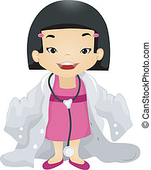 Illustration of a Girl Wearing an Oversized Doctor's Laboratory Coat