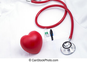 Lab coat with heart - Lab coat with stethoscope and a red...