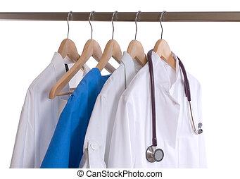 Lab coats - Medical protective workwear on the coat hooks