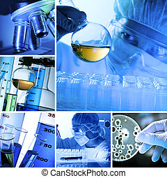Lab Collage - Various laboratory related images in a collage