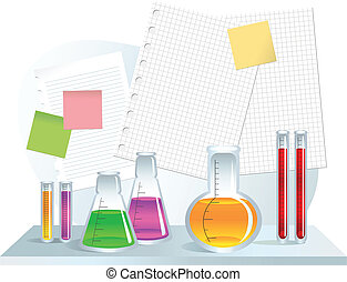 Lab - Test tubes and blank note paper sheets, isolated on...