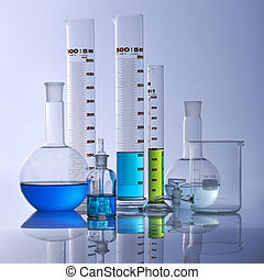 lab equipment - chemical glassware in a research laboratory...