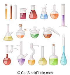 Lab flask vector set. - Chemical laboratory vector lab flask...