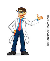lab geek man cartoon with glasses and wearing a lab coat and hands on hips smiling invite