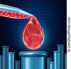 Lab Grown Meat - Lab grown meat concept as laboratory...