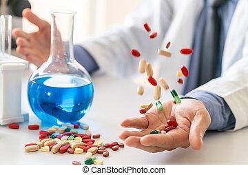 lab., medicina, pílulas, pesquisa, tabuletas
