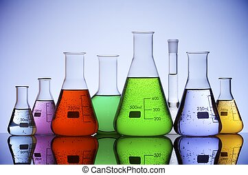 lab - group of laboratory flasks with colored liquid inside