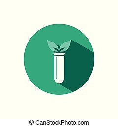 Lab plant icon with shadow on a green circle. Vector pharmacy illustration
