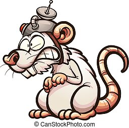 Lab rat - Cartoon laboratory white rat. Vector clip art...