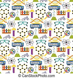 Lab symbols test medical laboratory scientific biology design molecule biotechnology science chemistry seamless pattern background vector illustration.