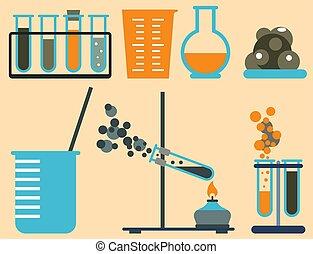 Lab symbols test medical laboratory scientific biology design science chemistry icons vector illustration.