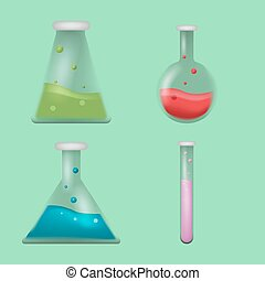 Lab Tube Science Collection Set Vector
