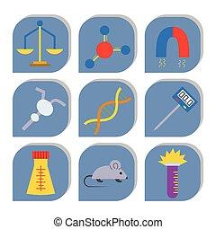 Lab vector symbols test medical laboratory scientific biology design molecule biotechnology science chemistry icons illustration.
