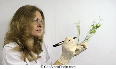 lab woman write on flask
