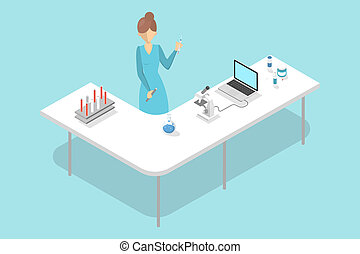Lab worker making blood test in hospital laboratory.