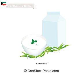 Laban or Kuwaiti Fermented Milk with Sour Flavor - Kuwaiti...