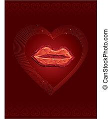 labbra, diamante, rosso