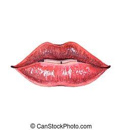 labbra, donna, rosso