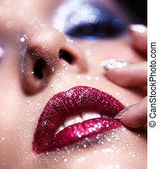 labbra, donna, trucco, lucente