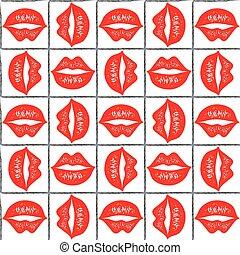 labbra, pattern., rosso