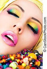 labbra, rossetto, trucco, colorito