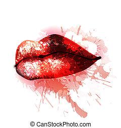 labbra, schizzi, colorito