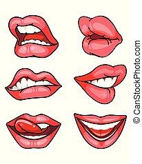 labbra, set, bianco