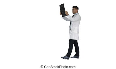 labcoat, balayage, marche, radiographic, personnel, image, regarder, arrière-plan., quoique, mri, healthcare, blanc, rayon x, ct