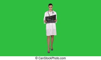 labcoat, balayage, radiographic, docteur, chroma, image, écran, regarder, vert, key., femme, blanc, ct, rayon x, mri