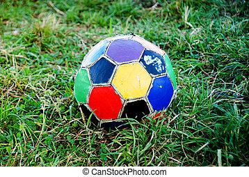 labda, öreg, színes, egyenetlen, futball