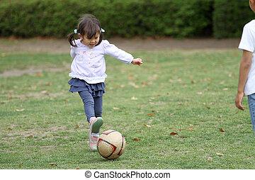 labda, (3, japán, év, old), leány, futball, játék
