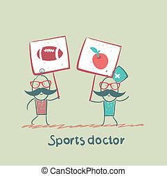 labda, alma, orvos, festett, poszter, fog, sport, következő, futball, transzparens, ember