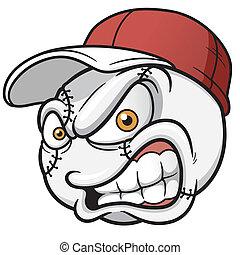 labda, baseball, karikatúra