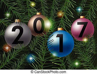 labda, elágazik, fa, sóvárog, vektor, háttér, karácsony