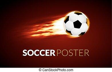 labda, elbocsát, motion., labdarúgás, kreatív, háttér, futball, transzparens