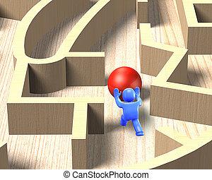 labda, fából való, játék, ábra, rámenős, útvesztő, ember, 3