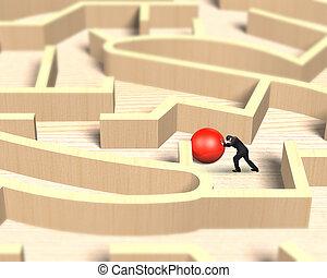labda, fából való, rámenős, játék, útvesztő, piros, ember