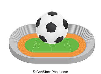 labda, felül, stadion