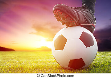 labda, foci kickoff, játék, napnyugta, futball, vagy