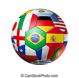 labda, foci sportcsapat, zászlók, világ, futball