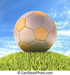 labda, futball, ezüst, arany